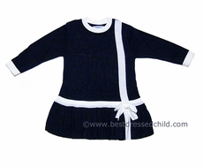 Florence Eiseman Girls Navy Blue Sweater Knit Dress with White Trim / Bow