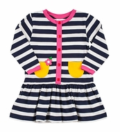 Florence Eiseman Girls Navy Blue / White Stripe Knit Dress with Yellow Pockets