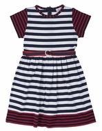 Florence Eiseman Girls Navy Blue / White Striped Dress with Belt