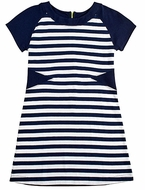 Florence Eiseman Girls Navy Blue / White Striped Dress with Exposed Green Zipper