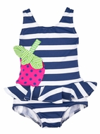 Florence Eiseman Girls Navy Blue / White Striped Ruffle Bathing Suit with Strawberry