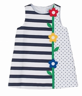 Florence Eiseman Girls Navy Blue / White Stripes & Dots Pique Dress with Flowers on Stem