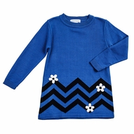 Florence Eiseman Girls Navy / Royal Blue Chevron Sweater Knit Tunic with Flowers