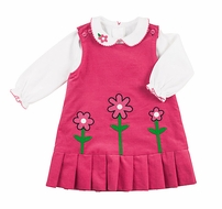 Florence Eiseman Girls Pink Corduroy Flowers Jumper with Blouse - Reverses to Navy Blue