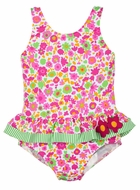 Florence Eiseman Girls Pink Floral Swimsuit with Ruffle