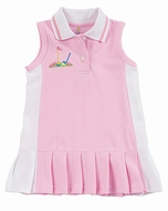 Florence Eiseman Girls Pink Girly Golf Pleated Pique Sleeveless Polo Dress