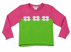 Florence Eiseman Girls Pink / Green Color Block Intarsia Flowers Sweater