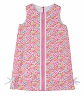 Florence Eiseman Girls Pink Pops Floral Shift Dress with Lattice Ribbon Trim