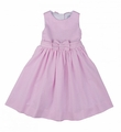 Florence Eiseman Girls Pink Stripe Seersucker Sun Dress with Open Back & Bow Detail