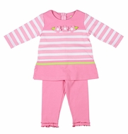 Florence Eiseman Girls Pink Striped Knit Tunic with Leggings