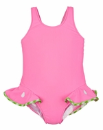 Florence Eiseman Girls Pink Watermelon Ruffles Bathing Suit - Back Bow