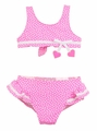 Florence Eiseman Girls Pink / White Hearts Sweetheart Ruffle Bikini Swimsuit