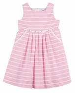 Florence Eiseman Girls Pink / White Striped Bow Rows Dress