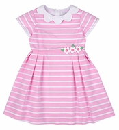 Florence Eiseman Girls Pink / White Striped Dress with Scallop Collar