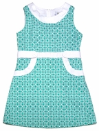 Florence Eiseman Girls Pistachio Green / White Print Pique Dress with Pockets