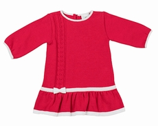 Florence Eiseman Girls Red Cable Knit Sweater Dress - White Bow