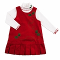 Florence Eiseman Girls Red Corduroy Christmas Holly Berry Dress with T-Neck