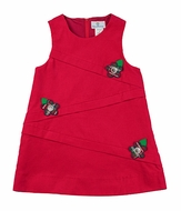 Florence Eiseman Girls Red Corduroy Jumper Dress with Diagonal Bands / Flowers