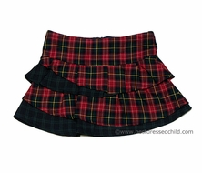Florence Eiseman Girls Red Holiday Plaid / Navy Blue Plaid Ruffle Skirt