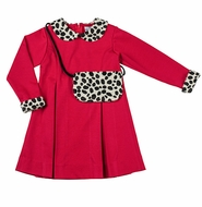 Florence Eiseman Girls Red Ponti Knit Dress with Dalmatian Purse