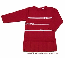 Florence Eiseman Girls Red Sweater Knit Christmas Dress with White Holly Bows