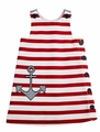 Florence Eiseman Girls Red / White Striped Pique Anchor Dress