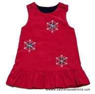 Florence Eiseman Girls Reversible Corduroy Dress - Navy Blue with Apples / Red with Snowflakes