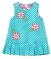 Florence Eiseman Girls Reversible Jumper Dress - Aqua Dots / Pink Floral Corduroy