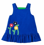 Florence Eiseman Girls Reversible Jumper Dress - Blue with Flowers Reverses to Green with Chicks