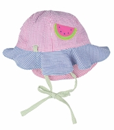 Florence Eiseman Girls Reversible Seersucker Sun Hat - Pink with Watermelon Reverses to Blue with Flower