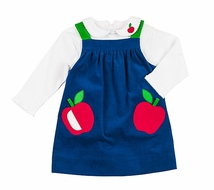 Florence Eiseman Girls Royal Blue Corduroy Apples Pocket Jumper with Blouse