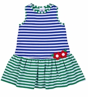 Florence Eiseman Girls Royal Blue / Green Striped Sleeveless Knit Y-Back Dress