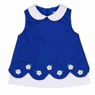 Florence Eiseman Girls Royal Blue Pique Scallop Dress  - White Flowers