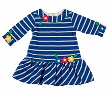 Florence Eiseman Girls Royal Blue Striped Dress with Applique Flowers
