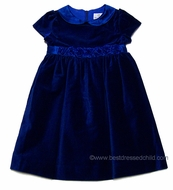 Florence Eiseman Girls Royal Blue Velvet Holiday Dress with Organza Roses and Collar