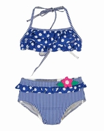 Florence Eiseman Girls Royal Blue / White Dots & Stripes Swimsuit - Bikini