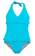 Florence Eiseman Girls Turquoise Blue Halter One Piece Bathing Suit