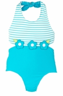 Florence Eiseman Girls Turquoise Color Block Bathing Suit with Flowers