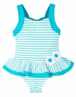 Florence Eiseman Girls Turquoise Stripes Ruffle Swimsuit with Flowers