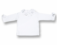 Florence Eiseman Girls White Cotton Blouse with Flower Petals Trim and LONG Sleeves