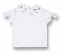 Florence Eiseman Girls White Cotton Blouse with FLOWER Trim and SHORT Sleeves
