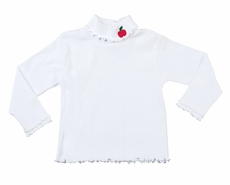 Florence Eiseman Girls White Cotton Turtleneck Shirt with Red Apple