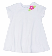 Florence Eiseman Girls White Knit Terry Cover Up with Hot Pink Flower