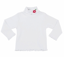 Florence Eiseman Girls White Lettuce Edge Turtleneck with Red Flower Applique