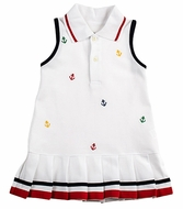 Florence Eiseman Girls White Pique Knit Pleated Tennis Dress - Embroidery Anchors