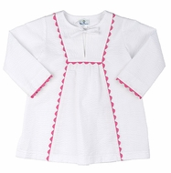 Florence Eiseman Girls White Seersucker Retro Cover Up with Pink Rick Rack Trim