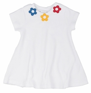 Florence Eiseman Girls White Terry Cover Up - Red / Blue / Yellow Flowers