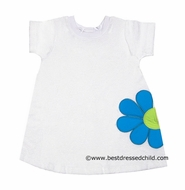 Florence Eiseman Girls White Terry Cover Up with Large Turquoise Flower Petals