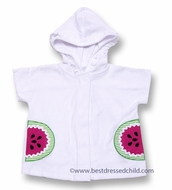 Florence Eiseman Girls White Terry Hooded Coverup - Watermelon Pockets