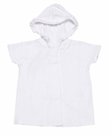 Florence Eiseman Girls White Terry Short Sleeved Cover Up with Ruffled Hood - Velcro Closure